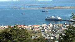 View of Ushuaia, Tierra del Fuego, Argentina Stock Footage