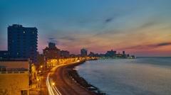 Havana malecon night - stock footage