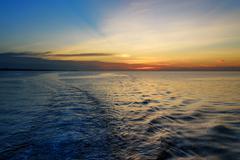 Beautiful sunset at the equator - stock photo