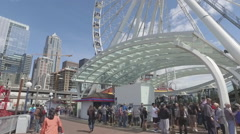 Seattle Great Wheel  - Low Angle Stock Footage
