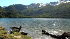 View of Escondido Lake (Tierra del Fuego Lake) - Argentina Stock Footage