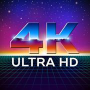 4k Ultra HD format logo with shiny chrome letters - stock illustration