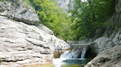 Bath Youth, water the Grand Canyon of Crimea - stock footage