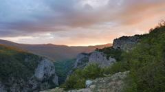 Crimea Grand Canyon at sunset panorama Stock Footage