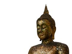 Beautiful Sculpture of Thailand at worship Buddhist in white Background - stock photo