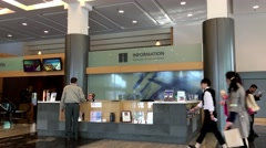 People asking information at Vancouver convention centre inside Pan pacific V Stock Footage