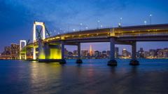 4K Day to Night timelapse of Rainbow Bridge, Tokyo, Japan - stock footage
