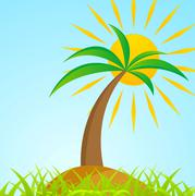 Tropical palm tree on island with shiny sun - stock illustration