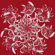 Abstract ornament on red background - stock illustration