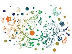 Colorful Floral Ornament - stock illustration