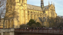 Ancient architecture, view on Basilica of Saint Denis church in Paris, France Stock Footage