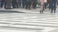 Fashionable lady in beige shoes standing near crosswalk, intensive city traffic - stock footage