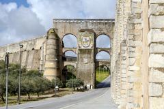 Roman Aqueduct da Amoreira in Elvas in Portugal - stock photo
