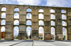 Roman Aqueduct da Amoreira in Elvas in Portugal Stock Photos
