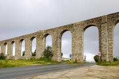 Ancient Roman aqueduct located in Evora, Portugal - stock photo