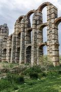 View of Aqueduct of the Miracles in Merida, Spain Stock Photos