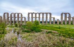 view of Aqueduct of the Miracles in Merida, Spain - stock photo