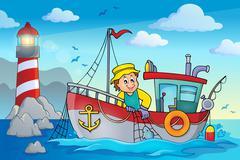 Fishing boat theme image - eps10 vector illustration. Piirros