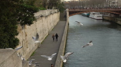 Sweet romantic couple walking on river embankment, seagulls flying near water Stock Footage