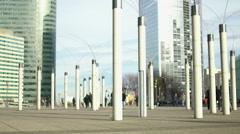 Creative streetlights near all-glass business center, modern art, unusual shapes Stock Footage