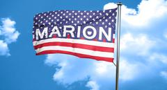 marion, 3D rendering, city flag with stars and stripes - stock illustration
