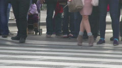 Fashionable woman on heels standing on crosswalk, beauty and fashion, tourism Stock Footage