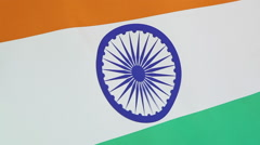 Closeup of a textile flag of India Stock Footage