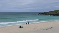 Tourists on St. Ives Porthminster beach Stock Footage