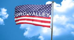 oro valley, 3D rendering, city flag with stars and stripes - stock illustration