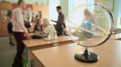 Students in the classroom. The star map in the foreground Stock Footage