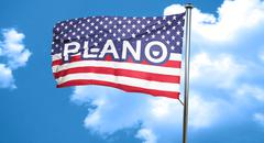 Plano, 3D rendering, city flag with stars and stripes Stock Illustration