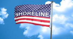 shoreline, 3D rendering, city flag with stars and stripes - stock illustration
