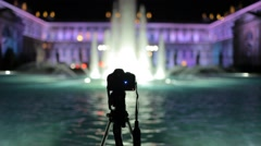 Making Time Lapse at Reggia di Monza, Italy. Fountain by Night Stock Footage