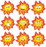 Sun with different facial expressions Stock Illustration
