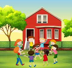 Children playing game in the yard Stock Illustration