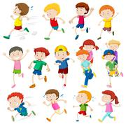Simple characters of kids running Stock Illustration