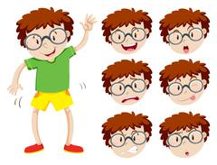 Boy with many facial expressions Stock Illustration