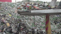 Sorting  cullet. Glass recicling. Renewable production. Super slow motion Stock Footage
