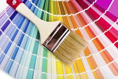 Catalog with paint color samples and brush Stock Photos