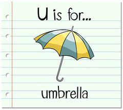 Flashcard letter U is for umbrella Stock Illustration