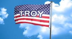 troy, 3D rendering, city flag with stars and stripes - stock illustration