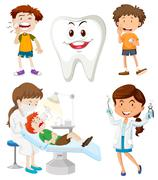 Boys with dental problems Stock Illustration