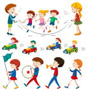 Children in the band and doing other activities Stock Illustration