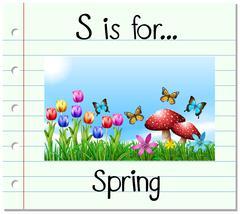 Flashcard letter S is for spring Stock Illustration