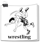 Doodle of athletes doing wrestling Stock Illustration