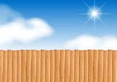 Scene with wooden fence at daytime Stock Illustration