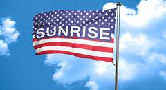 sunrise, 3D rendering, city flag with stars and stripes - stock illustration
