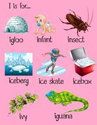 Many words begin with letter I Stock Illustration