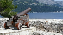 Big old cannon - old town Korcula, Island Korcula Stock Footage