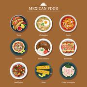 set of mexican food flat design - stock illustration